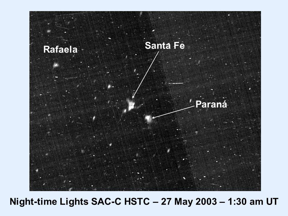 Santa Fe Paraná Rafaela Night-time Lights SAC-C HSTC – 27 May 2003 – 1:30 am UT