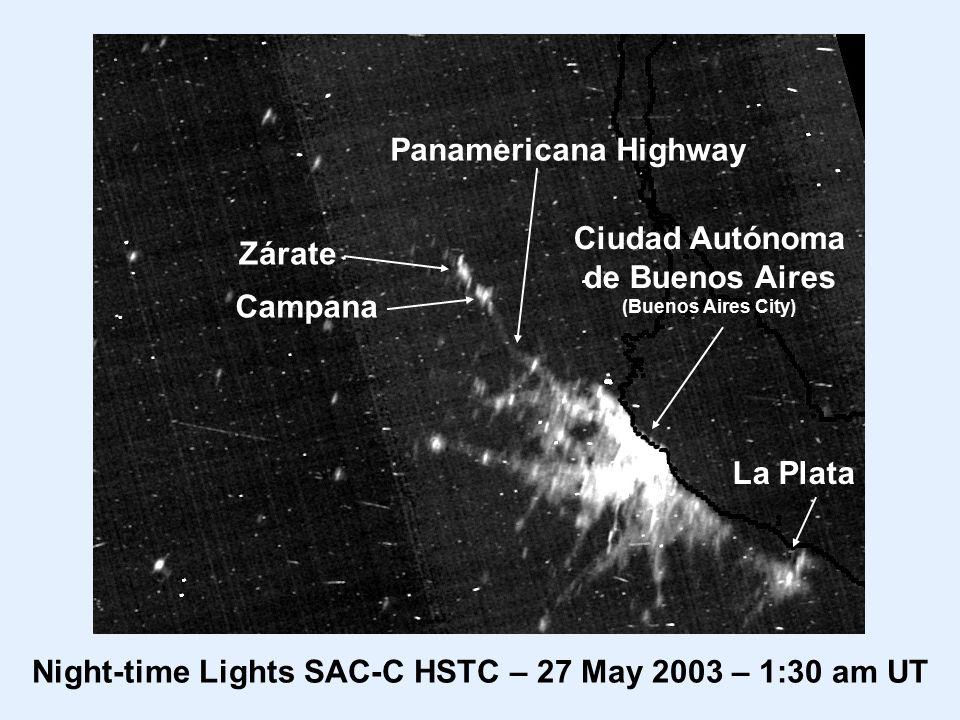 Ciudad Autónoma de Buenos Aires (Buenos Aires City) La Plata Panamericana Highway Night-time Lights SAC-C HSTC – 27 May 2003 – 1:30 am UT Zárate Campana