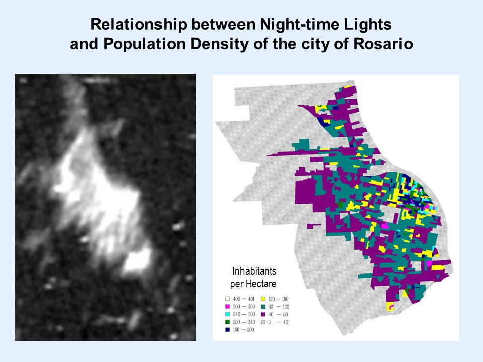 Inhabitants per Hectare Relationship between Night-time Lights and Population Density of the city of Rosario