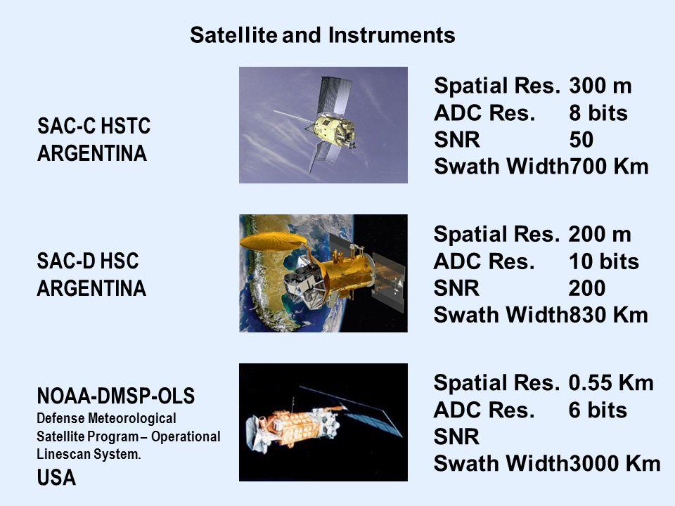 Satellite and Instruments SAC-D HSC ARGENTINA SAC-C HSTC ARGENTINA NOAA-DMSP-OLS Defense Meteorological Satellite Program – Operational Linescan System.