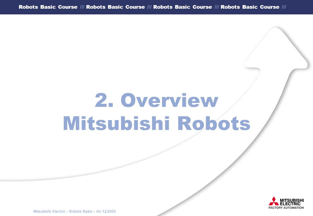 "Mitsubishi Electric – Robots Basic – Ho 12/2006 Robots Basic Course /// Robots Basic Course /// Robots Basic Course /// Robots Basic Course /// 5.4 Programming by means of the teaching box (4) After you have pressed once the key ""Menu the main display appears."