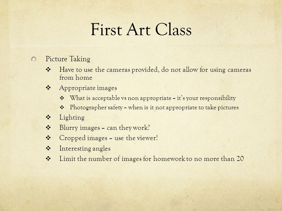 First Art Class Picture Taking  Have to use the cameras provided, do not allow for using cameras from home  Appropriate images  What is acceptable