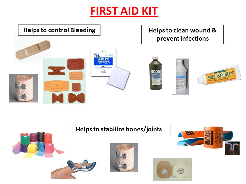 FIRST AID KIT Helps with insect bites or poisonous plants Helps with blisters Helps with muscle cramps Helps with sun burn