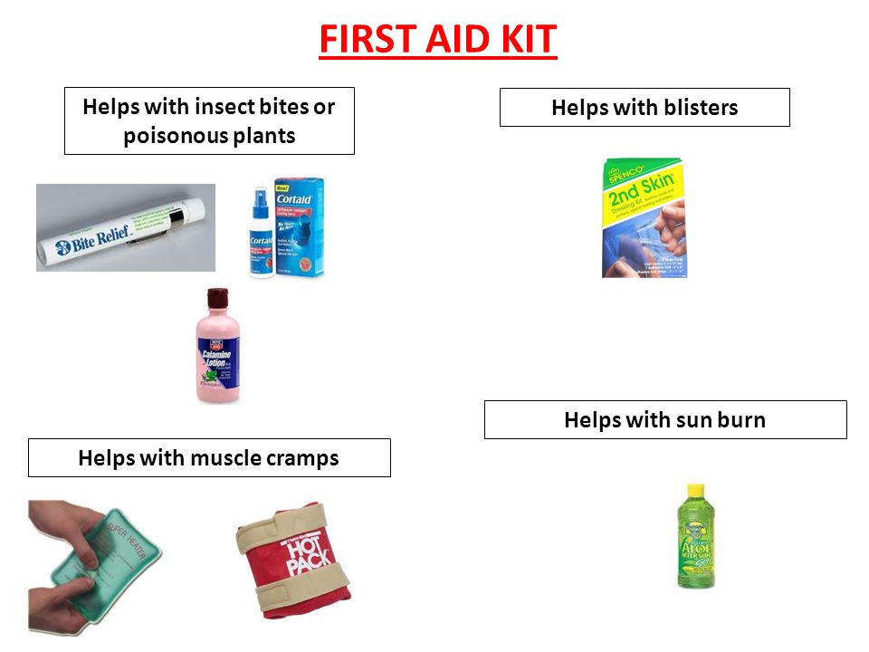FIRST AID KIT Helps with foreign objects in your eye or dryness Helps with pain Helps with allergic reactions Helps to control swelling