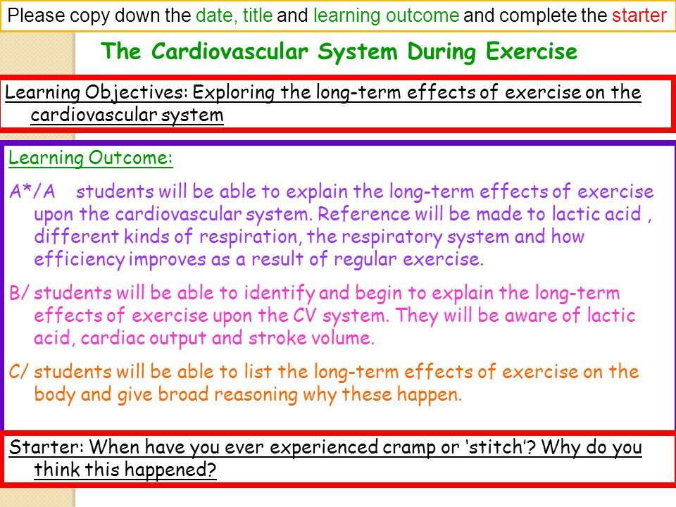The Cardiovascular System During Exercise Please copy down the date, title and learning outcome and complete the starter Learning Objectives: Exploring the long-term effects of exercise on the cardiovascular system Learning Outcome: A*/A students will be able to explain the long-term effects of exercise upon the cardiovascular system.