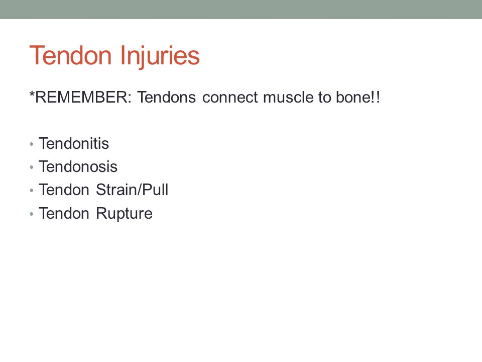Tendon Injuries *REMEMBER: Tendons connect muscle to bone!.