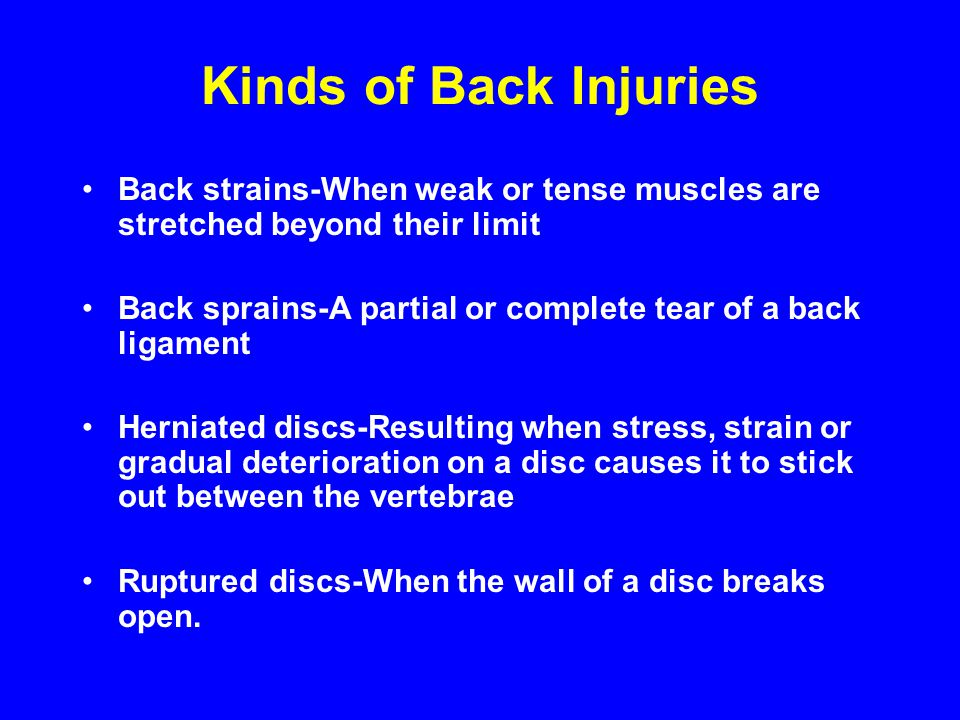 Kinds of Back Injuries Back strains-When weak or tense muscles are stretched beyond their limit Back sprains-A partial or complete tear of a back liga
