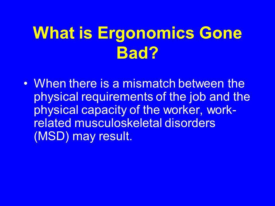Repetitive motion injury Cumulative trauma disorder Musculoskeletal disorder (MSD) Repetitive stress injury Sprains, strains, tears Ergonomic Disease