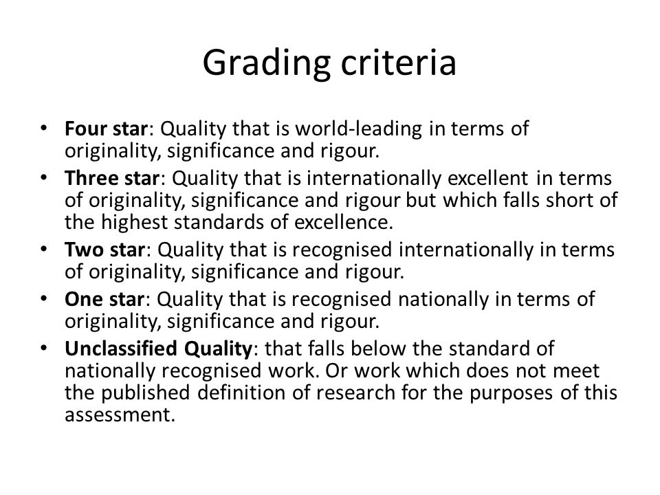 Grading criteria Four star: Quality that is world-leading in terms of originality, significance and rigour.