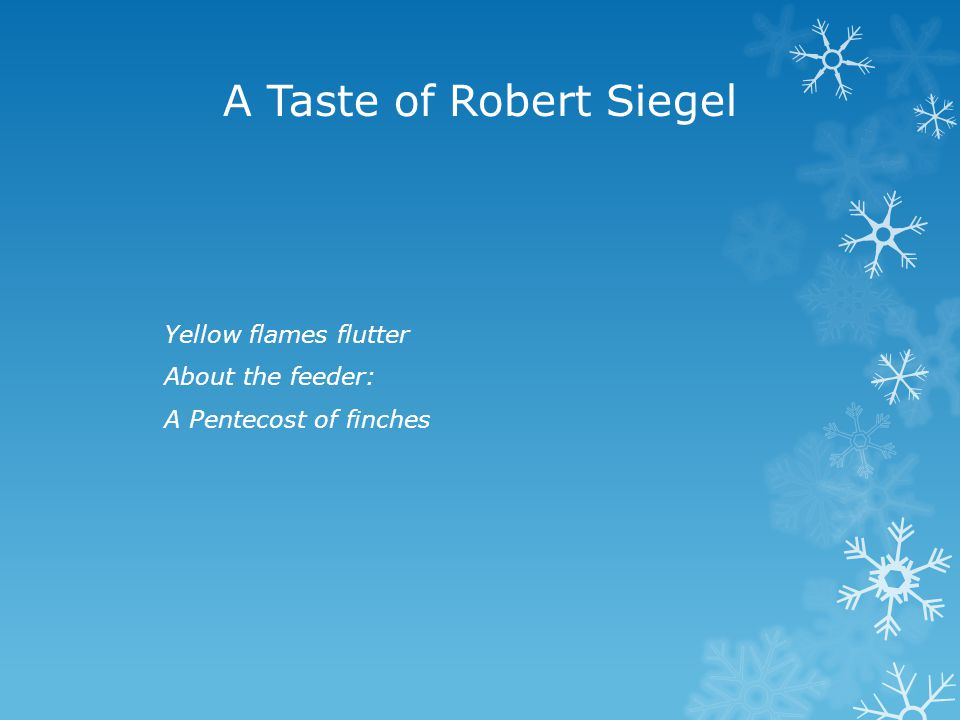 A Taste of Robert Siegel Yellow flames flutter About the feeder: A Pentecost of finches