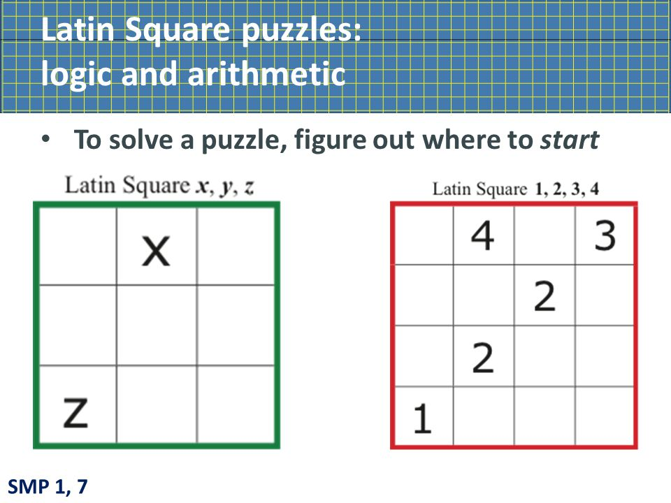 Latin Square puzzles: logic and arithmetic To solve a puzzle, figure out where to start SMP 1, 7