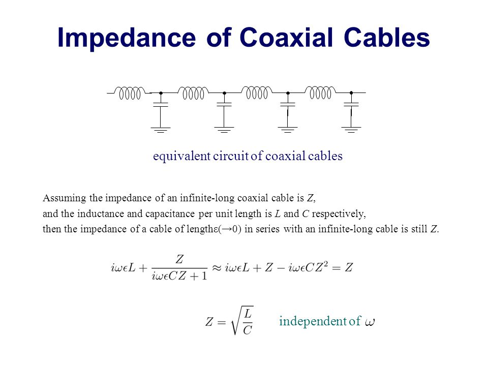 equivalent circuit of coaxial cables Impedance of Coaxial Cables Assuming the impedance of an infinite-long coaxial cable is Z, and the inductance and capacitance per unit length is L and C respectively, then the impedance of a cable of lengthε(→0) in series with an infinite-long cable is still Z.