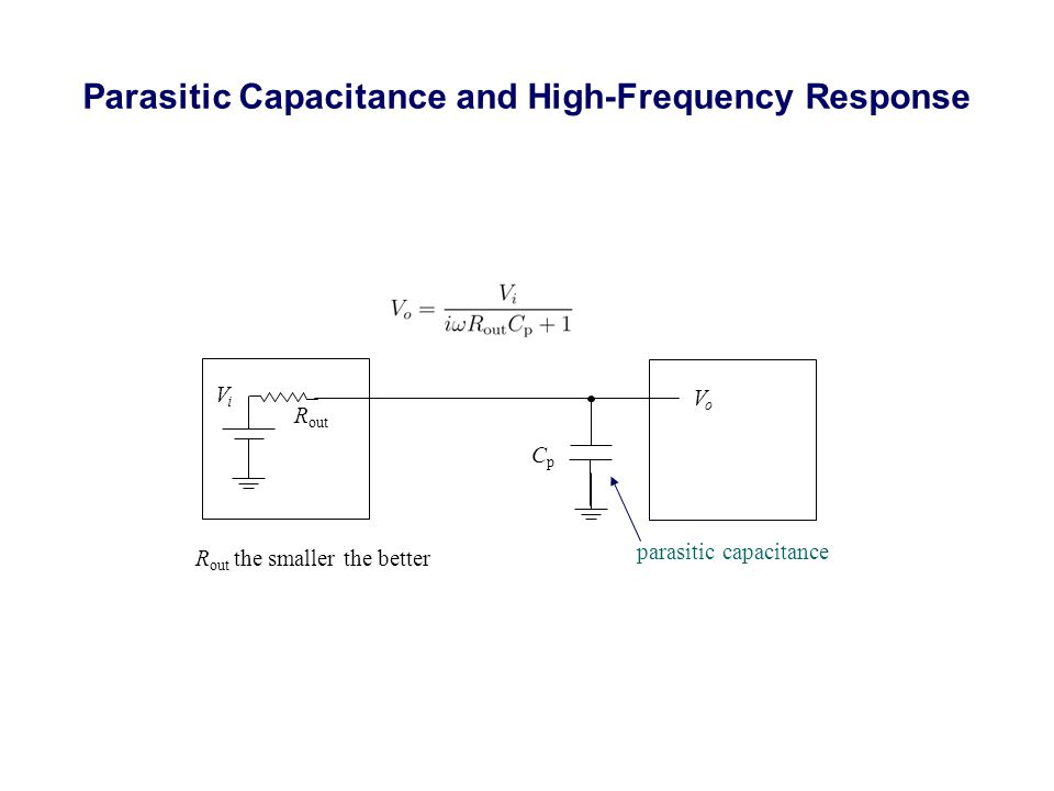 Parasitic Capacitance and High-Frequency Response R out CpCp R out the smaller the better parasitic capacitance VoVo ViVi