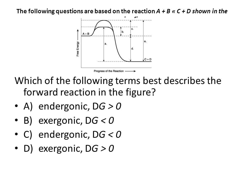 The following questions are based on the reaction A + B « C + D shown in the accompanying figure. Which of the following terms best describes the forw