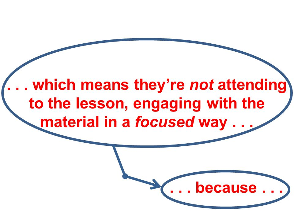 ... which means they're not attending to the lesson, engaging with the material in a focused way...... because...