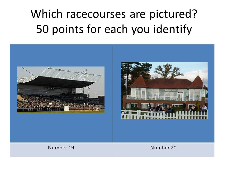 Which racecourses are pictured? 50 points for each you identify Number 19Number 20