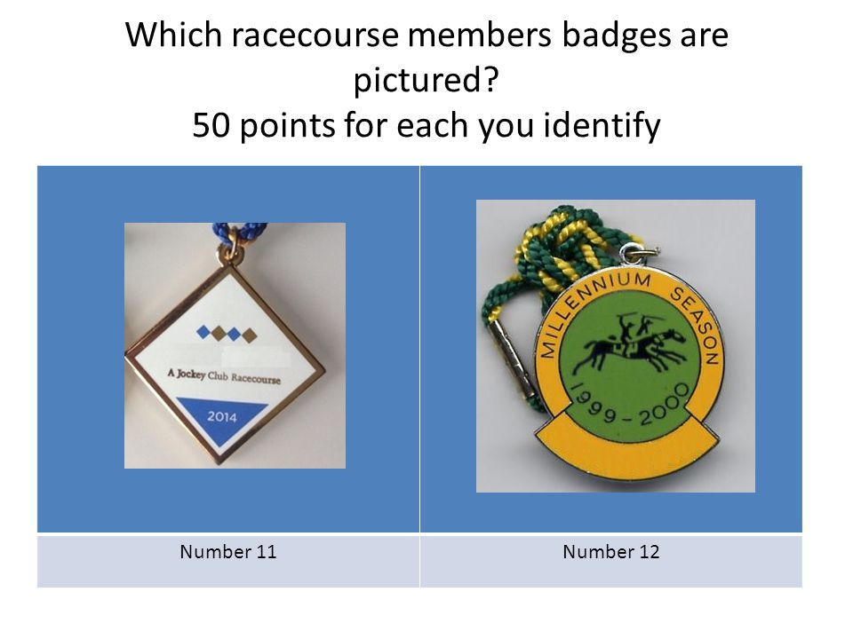 Which racecourse members badges are pictured? 50 points for each you identify Number 11Number 12