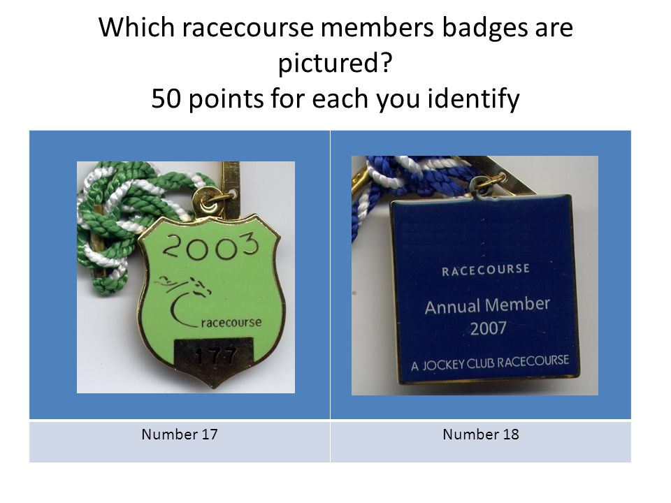 Which racecourse members badges are pictured? 50 points for each you identify Number 17Number 18