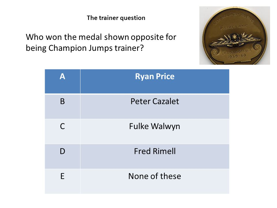 ARyan Price BPeter Cazalet CFulke Walwyn DFred Rimell ENone of these Who won the medal shown opposite for being Champion Jumps trainer? The trainer qu
