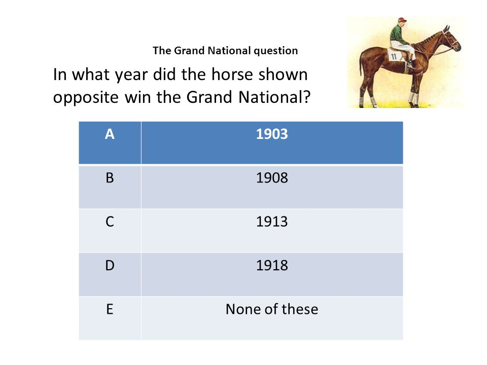 A1903 B1908 C1913 D1918 ENone of these In what year did the horse shown opposite win the Grand National? The Grand National question