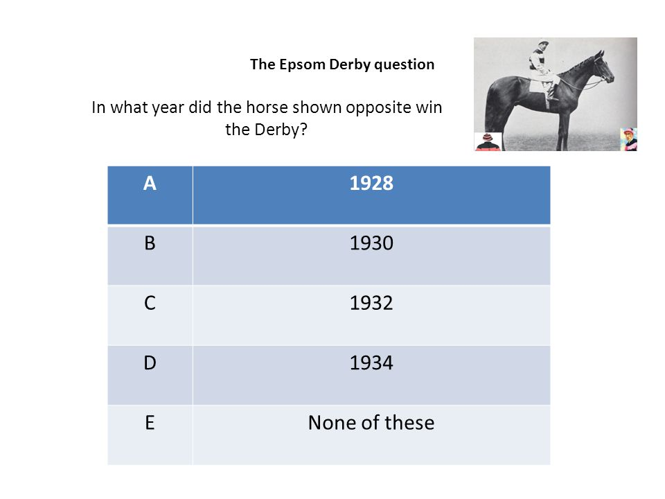 A1928 B1930 C1932 D1934 ENone of these In what year did the horse shown opposite win the Derby? The Epsom Derby question
