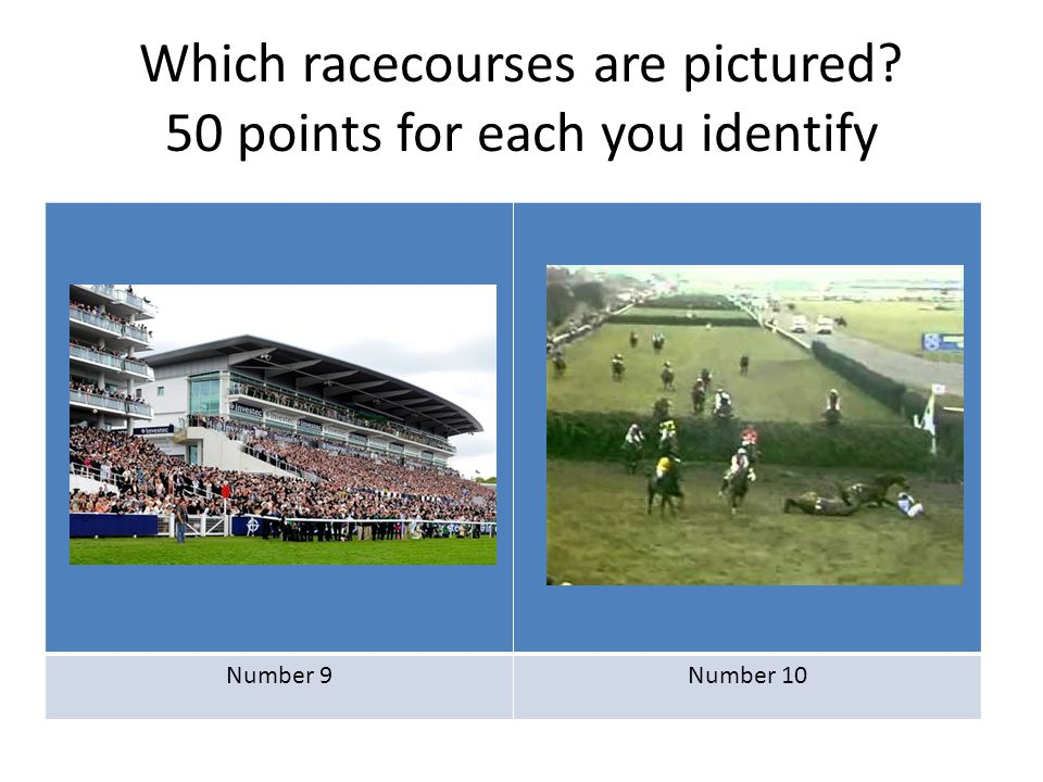 Which racecourses are pictured? 50 points for each you identify Number 11Number 12