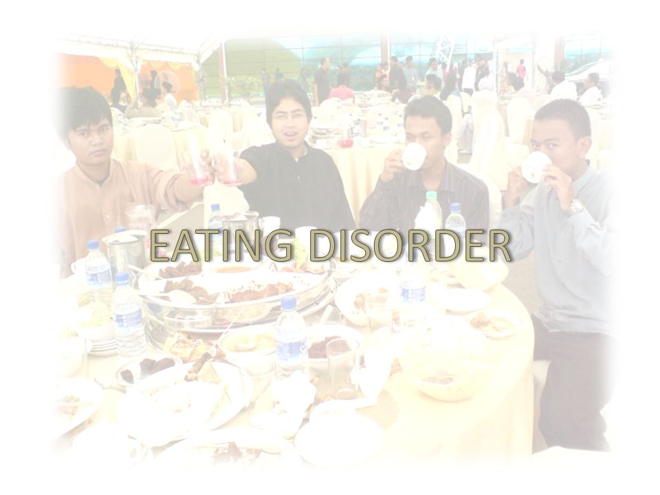 THE FACTS 100 % UMP students are having eating disorder.