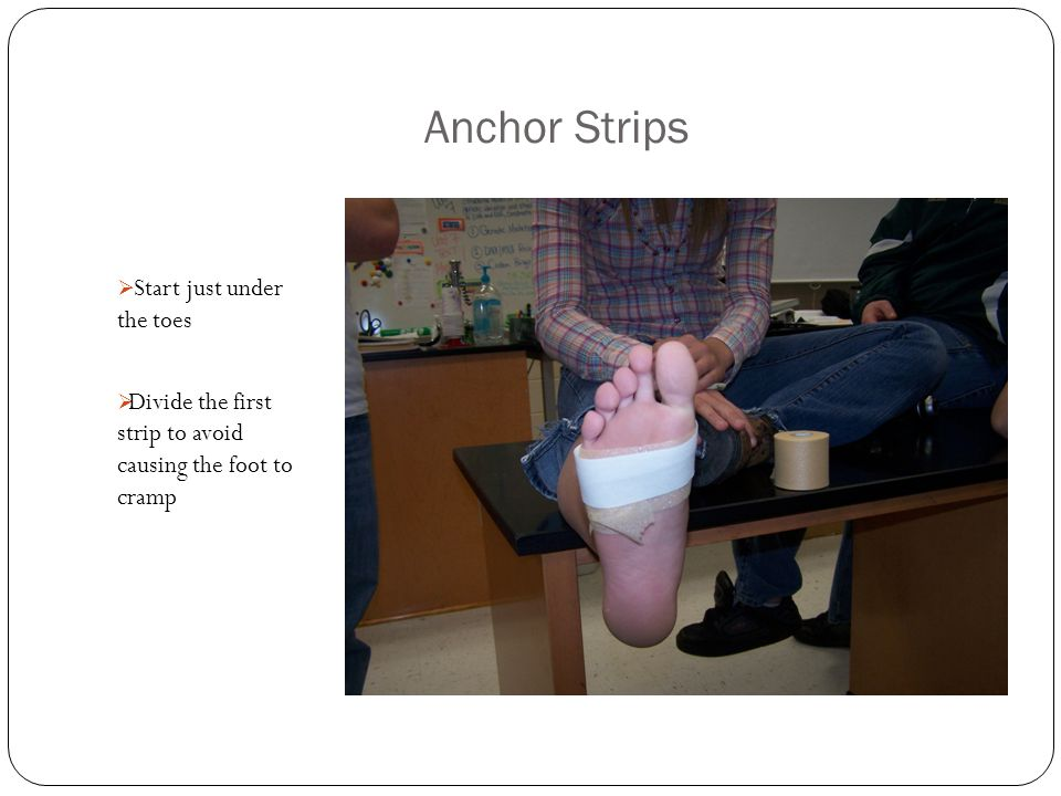 Anchor Strips  Start just under the toes  Divide the first strip to avoid causing the foot to cramp