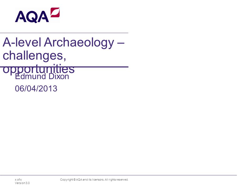 A-level Archaeology – challenges, opportunities Edmund Dixon Copyright © AQA and its licensors.