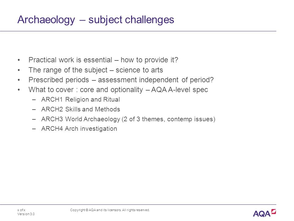 Archaeology – subject challenges Copyright © AQA and its licensors.