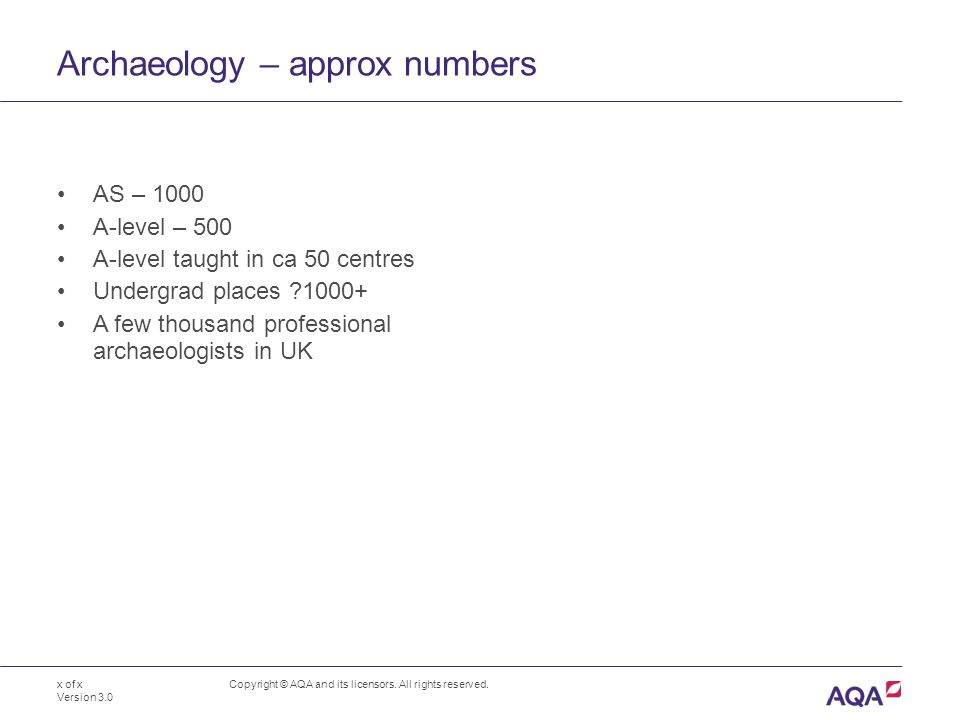 Archaeology – approx numbers AS – 1000 A-level – 500 A-level taught in ca 50 centres Undergrad places 1000+ A few thousand professional archaeologists in UK Copyright © AQA and its licensors.