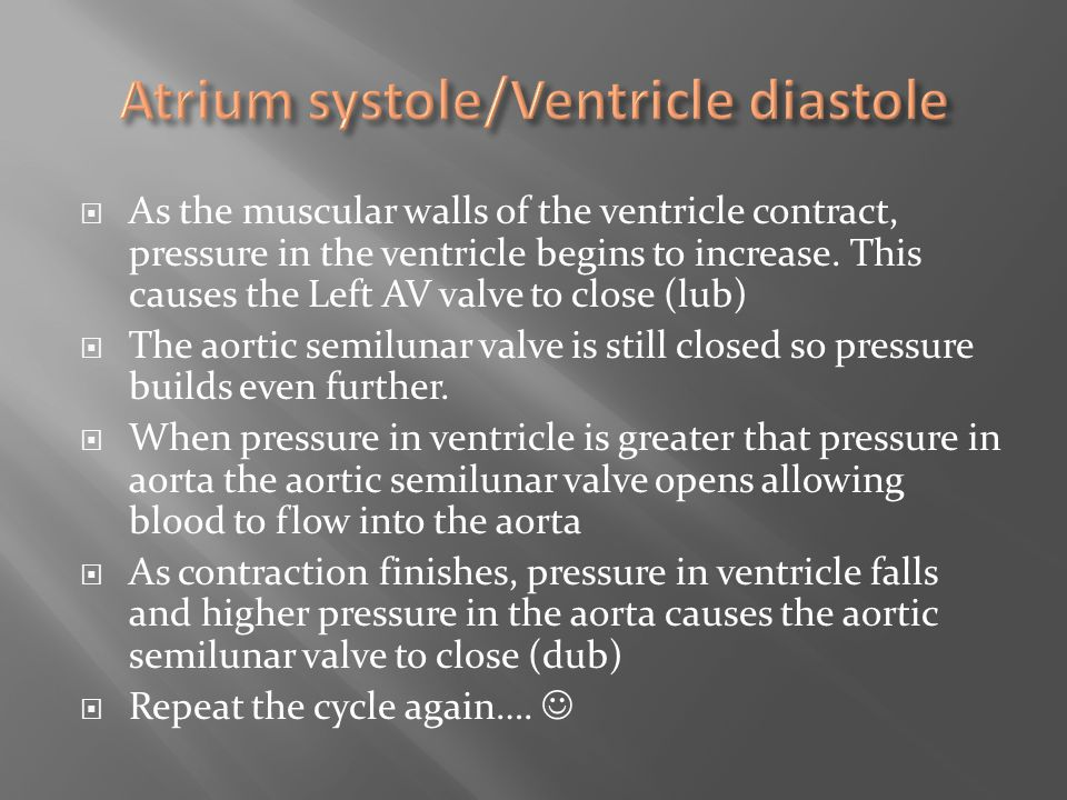  As the muscular walls of the ventricle contract, pressure in the ventricle begins to increase. This causes the Left AV valve to close (lub)  The ao
