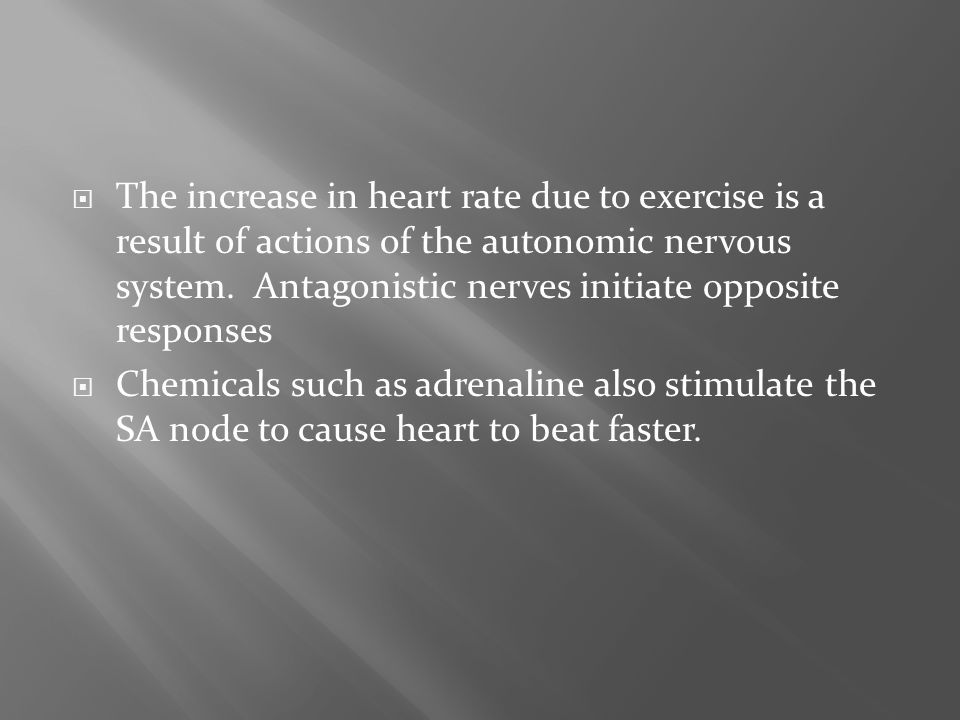  The increase in heart rate due to exercise is a result of actions of the autonomic nervous system. Antagonistic nerves initiate opposite responses 