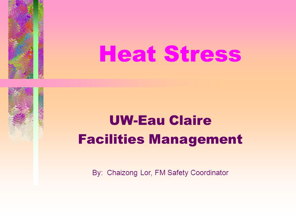 Heat Stress UW-Eau Claire Facilities Management By: Chaizong Lor, FM Safety Coordinator