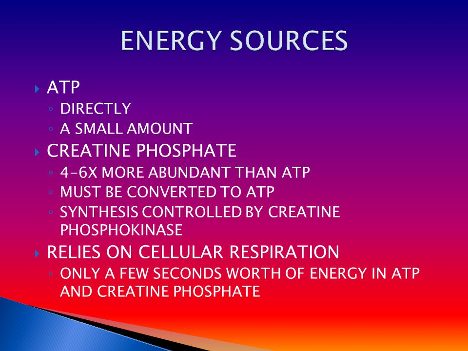  ATP ◦ DIRECTLY ◦ A SMALL AMOUNT  CREATINE PHOSPHATE ◦ 4-6X MORE ABUNDANT THAN ATP ◦ MUST BE CONVERTED TO ATP ◦ SYNTHESIS CONTROLLED BY CREATINE PHOSPHOKINASE  RELIES ON CELLULAR RESPIRATION ◦ ONLY A FEW SECONDS WORTH OF ENERGY IN ATP AND CREATINE PHOSPHATE