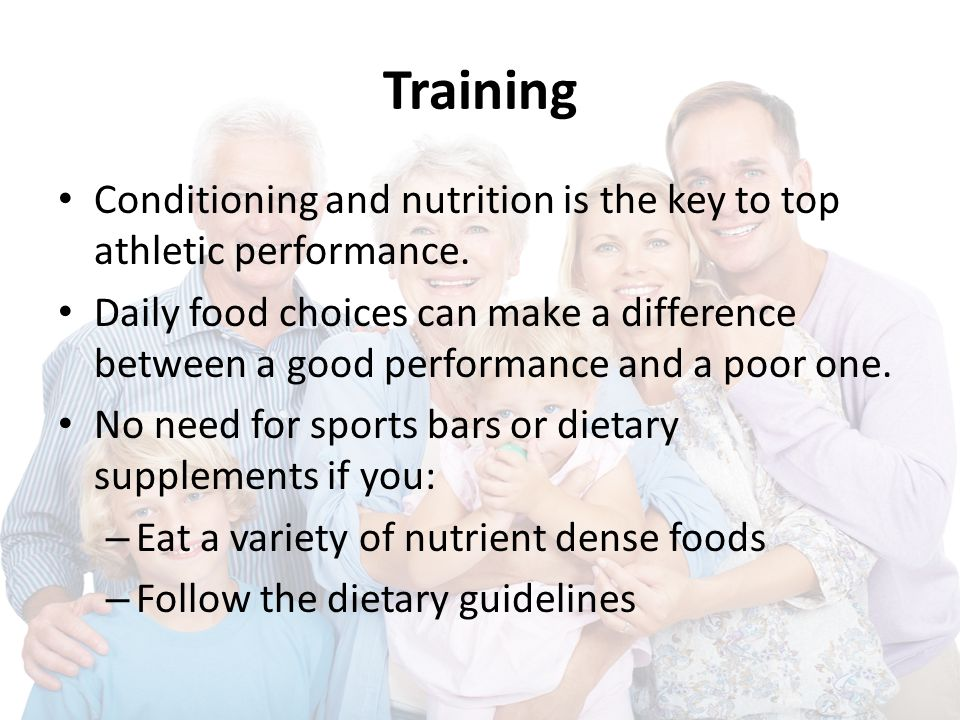 Training Conditioning and nutrition is the key to top athletic performance. Daily food choices can make a difference between a good performance and a