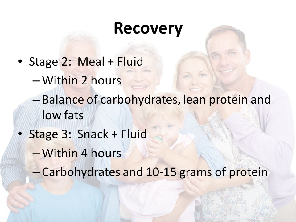 Recovery Stage 2: Meal + Fluid – Within 2 hours – Balance of carbohydrates, lean protein and low fats Stage 3: Snack + Fluid – Within 4 hours – Carboh