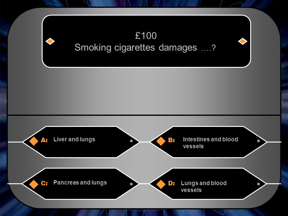 A:B: Liver and lungsIntestines and blood vessels £100 Smoking cigarettes damages …..
