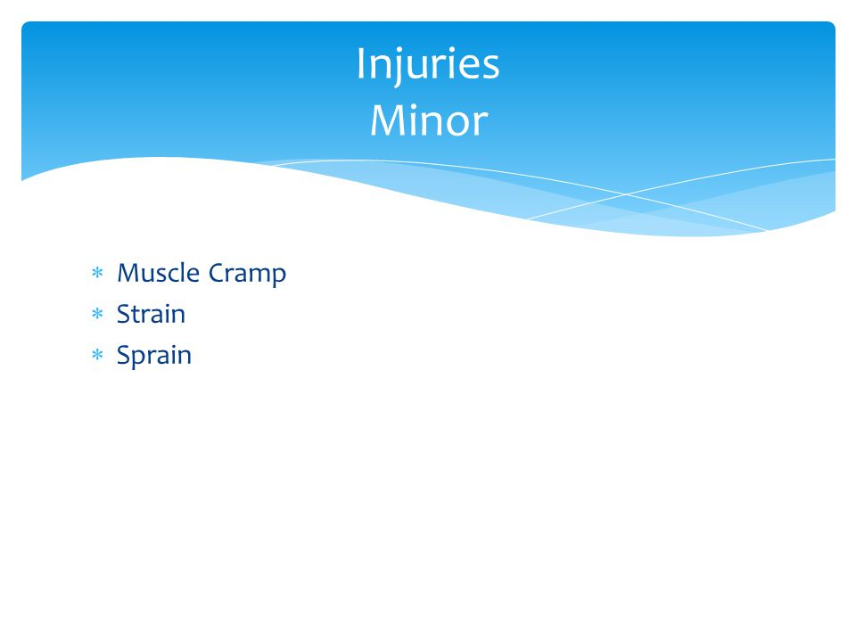  Muscle Cramp  Strain  Sprain Injuries Minor