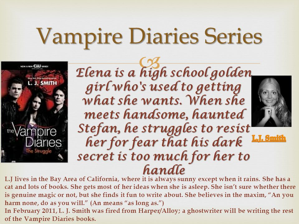  Vampire Diaries Series Elena is a high school golden girl who s used to getting what she wants.