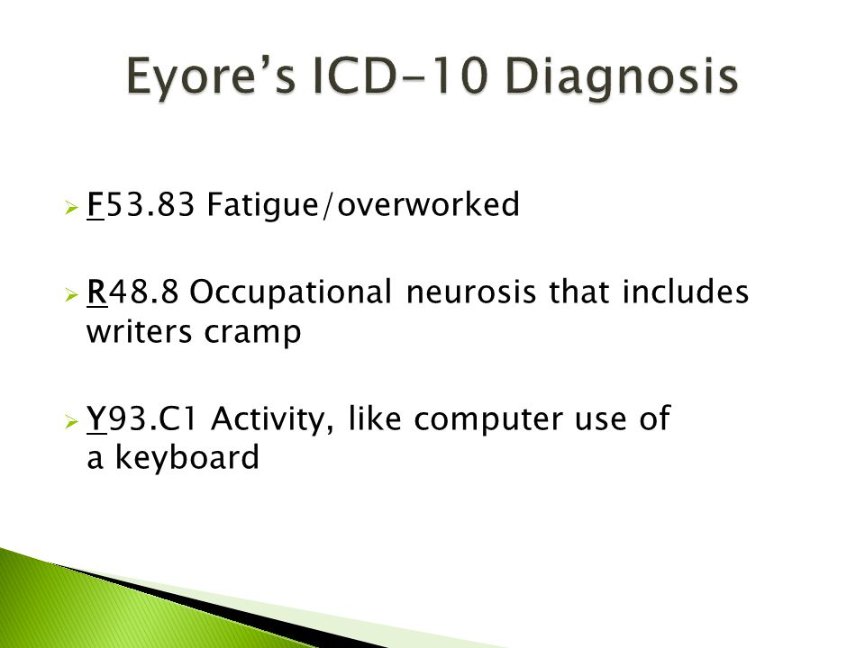  F53.83 Fatigue/overworked  R48.8 Occupational neurosis that includes writers cramp  Y93.C1 Activity, like computer use of a keyboard