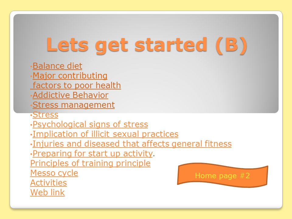 Lets get started (A) Fitness Levels of fitness Components of fitness Exercise for improve fitness and better performance Exercise for improve fitness and better performance Essential criteria for good health Essential criteria for good health Injuries and diseases that that affects general fitness Injuries and diseases that that affects general fitness Health/ Wellness Home page #1