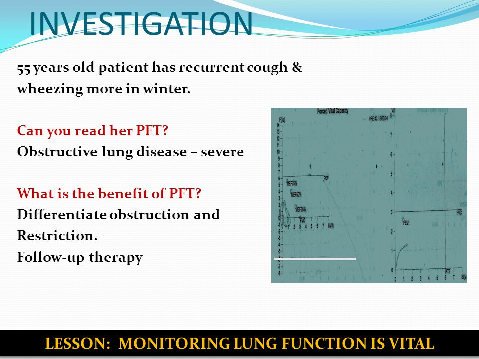 INVESTIGATION 55 years old patient has recurrent cough & wheezing more in winter.