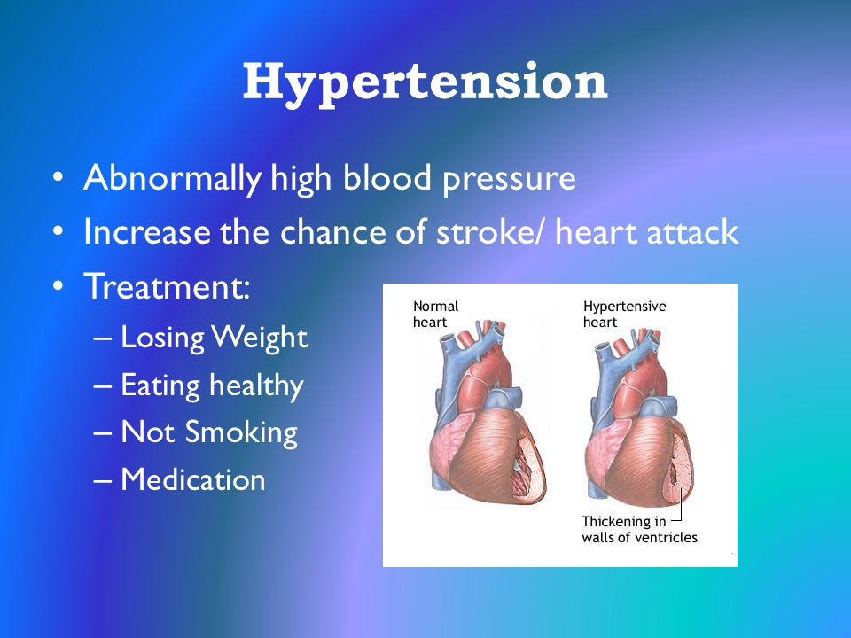 Hypertension Abnormally high blood pressure Increase the chance of stroke/ heart attack Treatment: – Losing Weight – Eating healthy – Not Smoking – Me