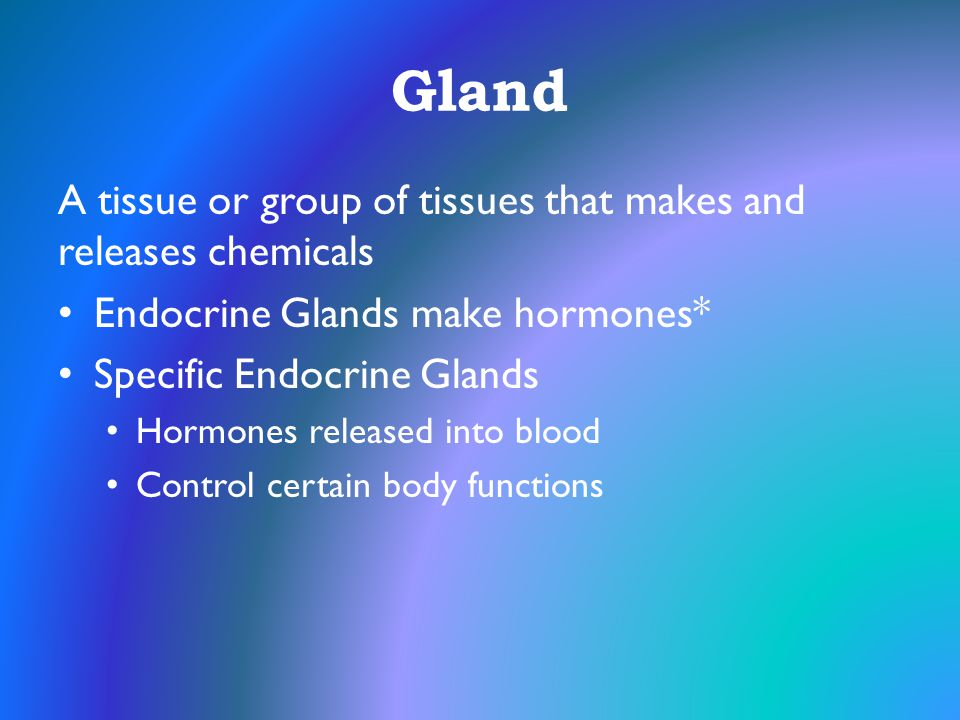 Gland A tissue or group of tissues that makes and releases chemicals Endocrine Glands make hormones* Specific Endocrine Glands Hormones released into