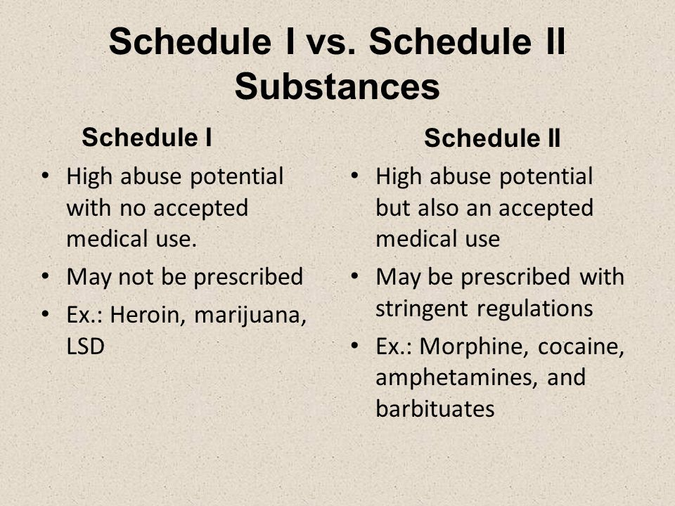 Schedule I vs. Schedule II Substances Schedule I High abuse potential with no accepted medical use.