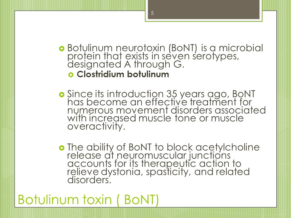 Antibody formation to BoNT A  Immunogenicity studies  Newest formulation  Combined = 2647 patients  7 developed detectable antibodies to BoNT A  0.26% 26 NOTE: BoNT cannot be detected in serum immediately after injection