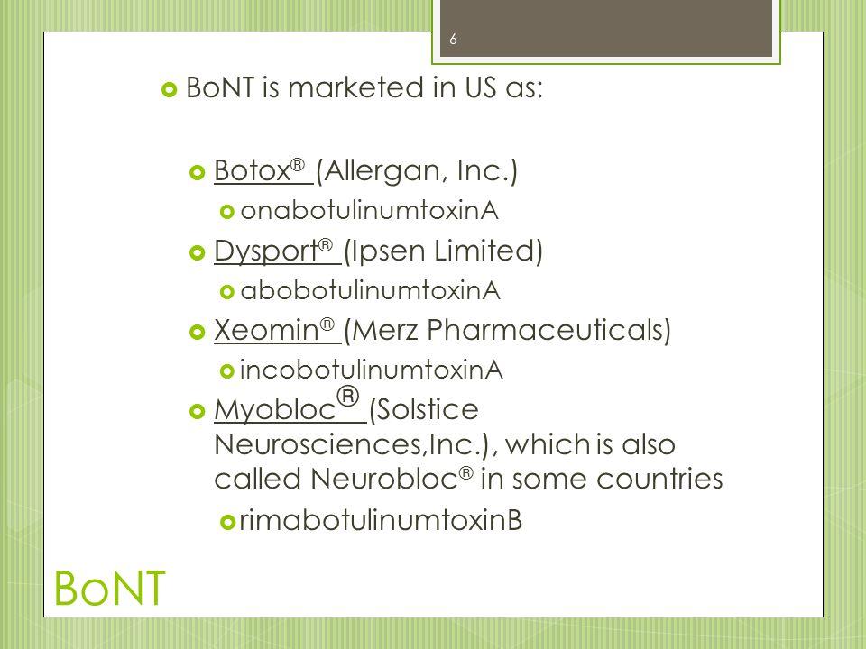 BoNT  BoNT is marketed in US as:  Botox ® (Allergan, Inc.)  onabotulinumtoxinA  Dysport ® (Ipsen Limited)  abobotulinumtoxinA  Xeomin ® (Merz Ph