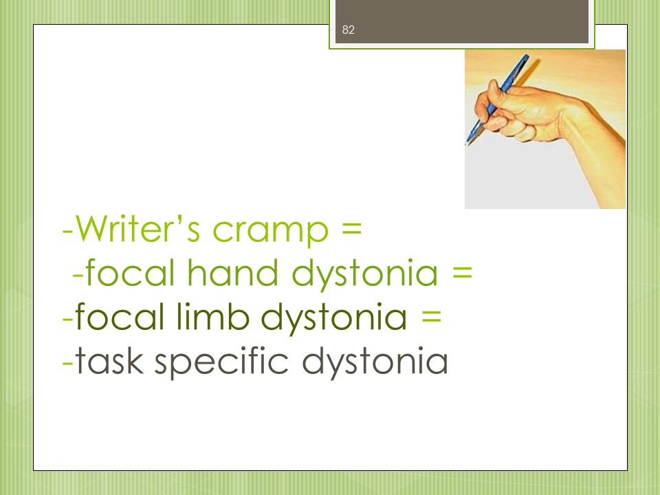 -Writer's cramp = -focal hand dystonia = -focal limb dystonia = -task specific dystonia 82