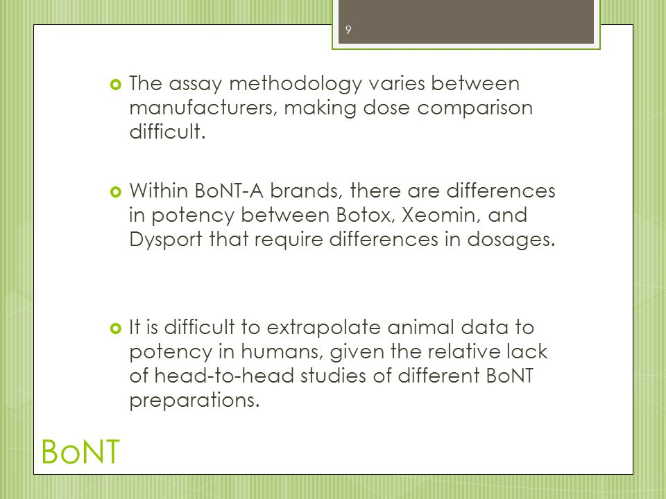 BoNT  Given the high range of intra- and inter- patient variability, doses must be established for each BoNT preparation for individual patients.